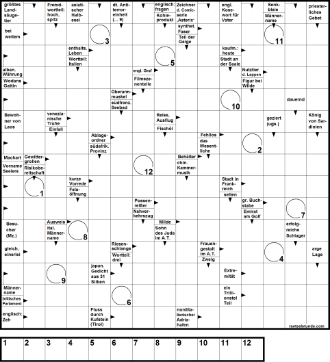 Ein Worträtsel Kreuzworträtsel